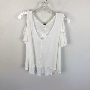 Free People Bittersweet Cold Shoulder Top White